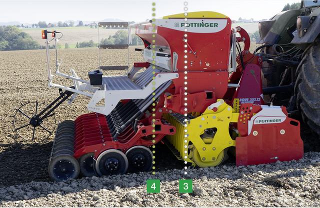 Poloha těžiště - PÖTTINGER s plným zásobníkem osiva
