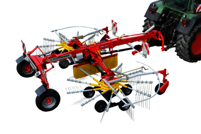 TOP C Rakes with 2 rotors with centre swath delivery